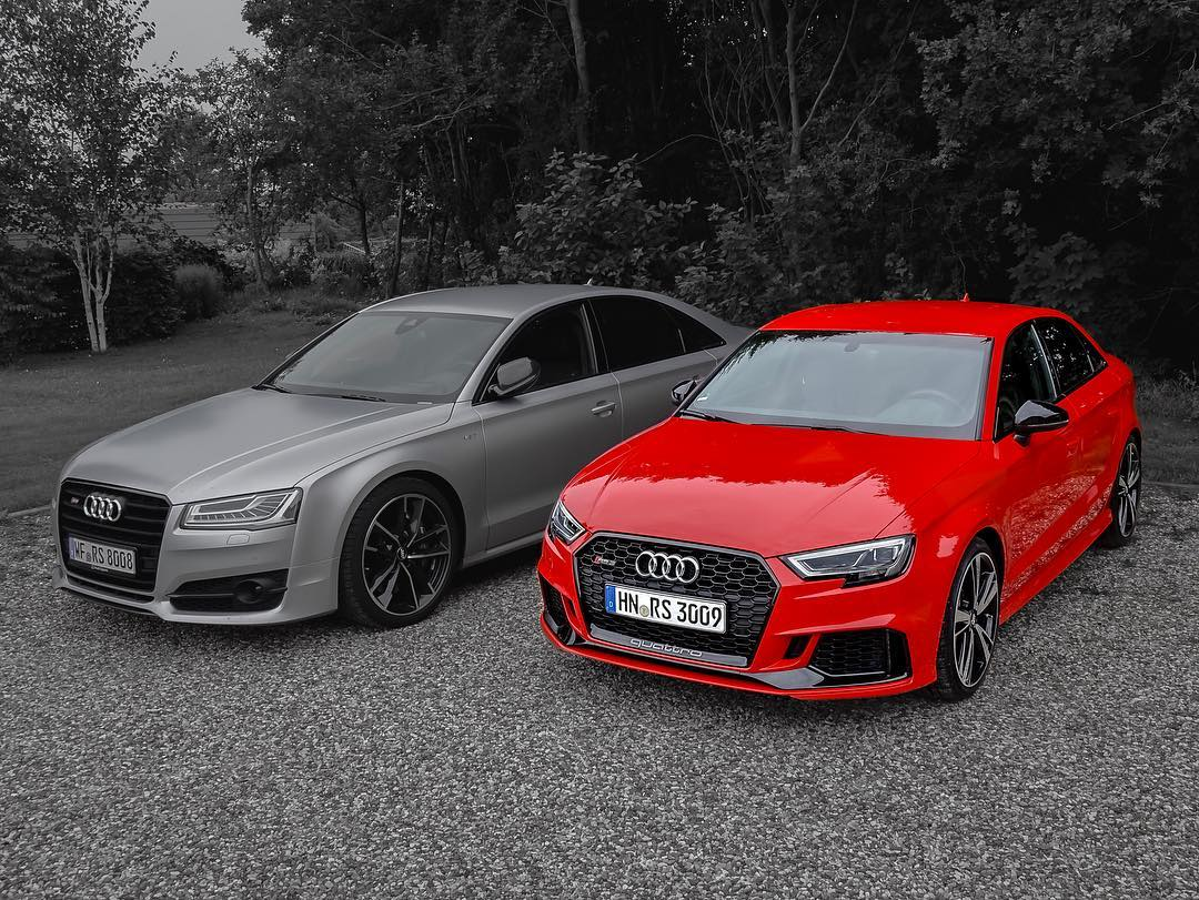 The S8 plus gets a rest for today and we are switching back to the RS3💥😍 @audisport @audi_de #audi #audirs #audis8 #audirs3 #s8plus #rs3 #rs3sedan #rs3limousine #rs38v #rs32017 #audis8plus #automanntv #automannsgarage