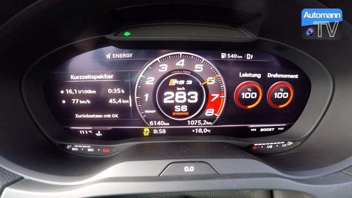 2018 Audi RS3 Sedan does a ridiculous 0-284 km/h LAUNCH Control💥💨 #wehatelimiters @audisport #audirs #audirs3 #rs3 #rs32017 #rs38v #audirs3sedan #rs3limousine #rs3sedan #0to60 #launchcontrol #autobahn #acceleration #automanntv