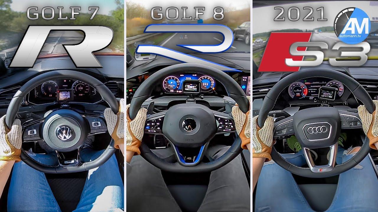 Golf 8 R vs. Golf 7 R vs. Audi S3   0-100 & 100-200 km/h ...